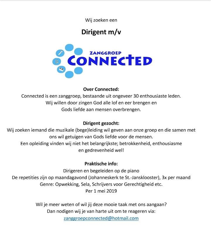 Zanggroep Connected zoekt dirigent