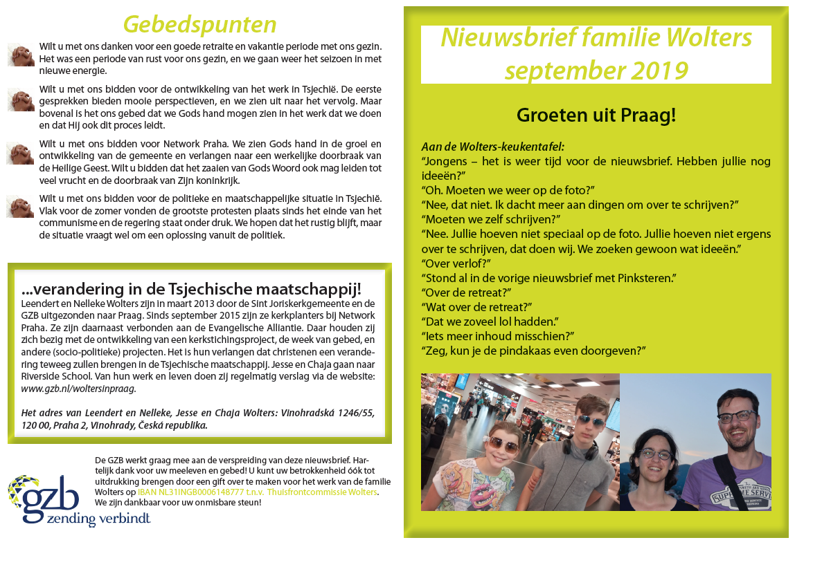 Nieuwsbrief familie Wolters uit Praag